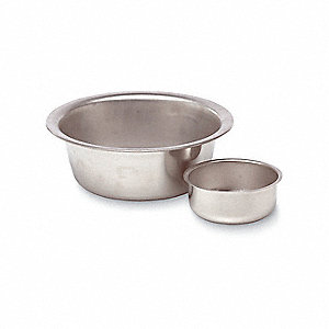 "Sponge Basin,  5/8 qt. Capacity,  5"" Diameter,  2-1/4"" Height,  Stainless Steel,  Silver"