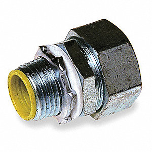 "Enhanced Rating Conduit Fitting, 1-1/4"", Straight, Box Connection: 1-1/4"" MNPT, Steel/Malleable Iron"