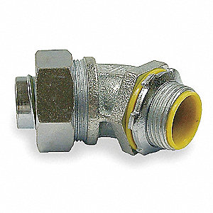 Malleable Iron/Steel Insulated Connector, Connector Type: 45°, Conduit Size:  1/2""