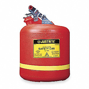 5 gal. Type I Safety Can, Used For Flammables, Red&#x3b; Includes Stainless Steel Hardware