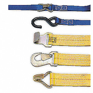 "Tie Down Strap, 10 ft.L x 1""W, 700 lb. Load Limit, Adjustment: Ratchet"