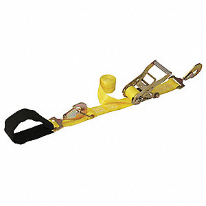 "Tie Down Strap, 10 ft.L x 2""W, 3300 lb. Load Limit, Adjustment: Ratchet"