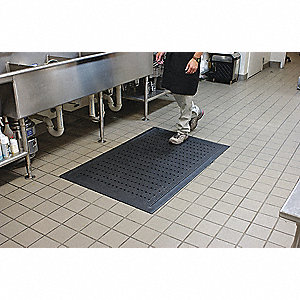 "Drainage Runner, Black, 16 ft. 1"" x 3 ft. 2"", Nitrile Rubber, 1 EA"