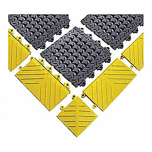 Mat Edging, Recycled PVC, Yellow, 1 EA