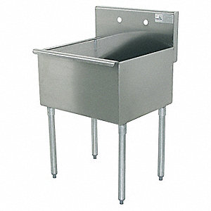 "Floor-Mount Utility Sink, 21"" x 24"" Square Bowl, Stainless"
