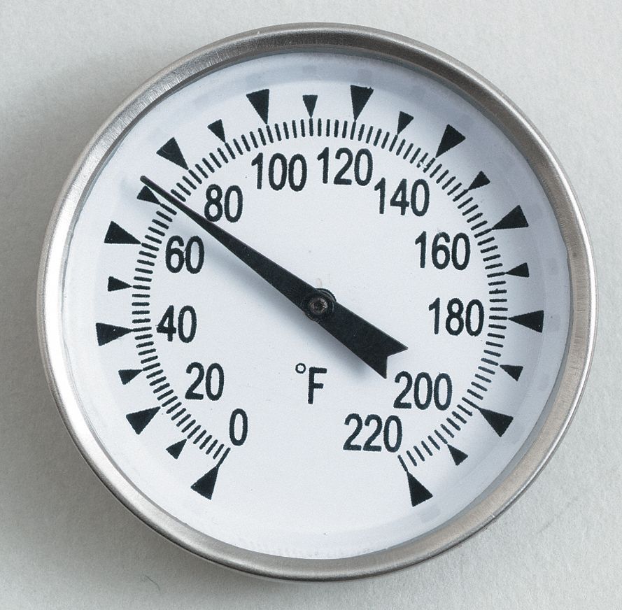 Analog Dial Thermometer,  Bimetal,  2 in Dial Size,  Back Connection Location,  8 in Stem Length
