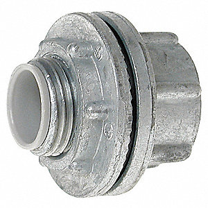 "Hub, Rain Tight, Zinc, 1/2"" Conduit Size, 1-1/2"" Overall Length"