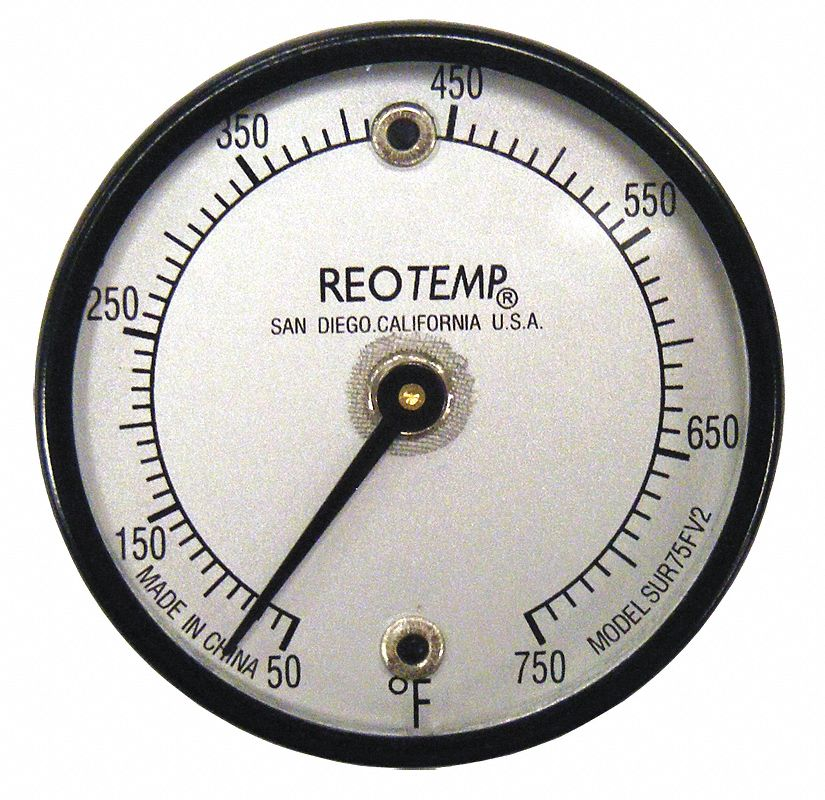 Magnetic Dial Surface Thermometer,  Bimetal,  2 in Dial Size,  Back Connection Location