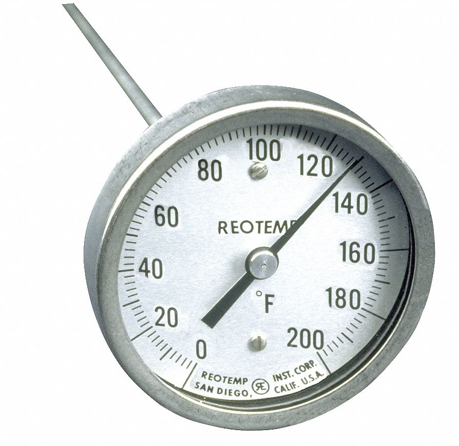 Compost Dial Thermometer,  Bimetal,  3 in Dial Size,  1/2 in NPT Connection Size