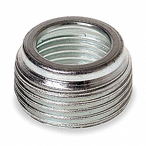 "Reducing Bushing, Zinc Plated Steel, 3/4"" to 1/2"" Conduit Size"