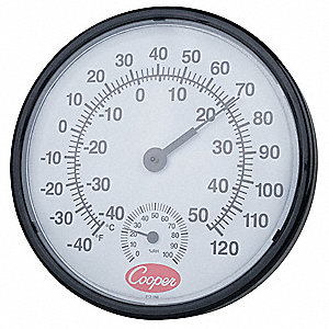 Analog Hygrometer,12 In.,-40 to 120 F