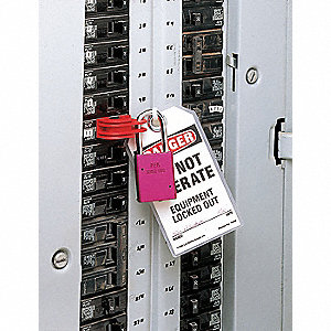 Circuit Breaker Lockout, No-Hole, Red, 1 EA