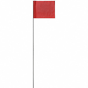 "Red Marking Flag, 4"" Flag Height, Solid Pattern, Blank"