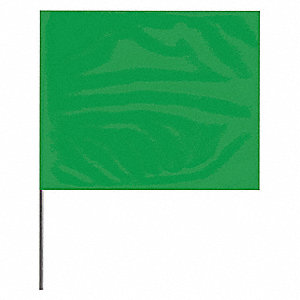 "Green Marking Flag, 4"" Flag Height, Solid Pattern, Blank"