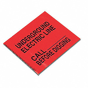 "Red Marking Flag, 4"" Flag Height, Solid Pattern, Electric Line"