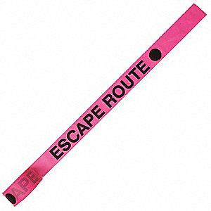 "Flagging Tape, Pink Glo/Black, 1-3/16"" x 150 ft., Escape Route"