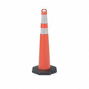 "Traffic Cone, 42"" Cone Height, Orange, Polyethylene"