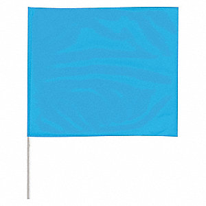 "Fluorescent Blue Marking Flag, 4"" Flag Height, Solid Pattern, Blank"