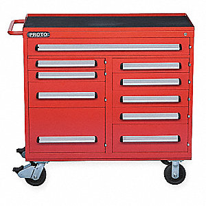 Red Industrial Premium Rolling Cabinet 42  H X 45  W X 21  D  sc 1 st  Grainger & PROTO Red Industrial Premium Rolling Cabinet 42