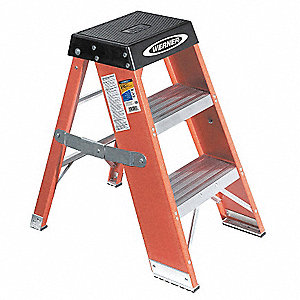 "Fiberglass Step Stand, 36"" Overall Height, 375 lb. Load Capacity, Number of Steps 3"