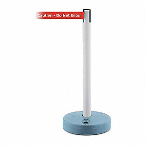 Barrier Post with Belt,37-3/4 In. H,PVC