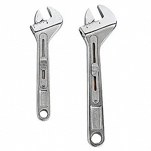 "6-1/2"", 10-1/2"" Alloy Steel Adjustable Wrench Set with Slide Adjustable Handle"
