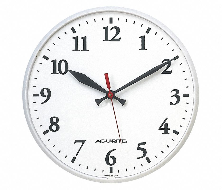 BASIC WHITE CLOCK,12 1/2 In Dia