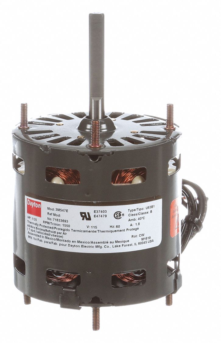 HVAC Motor,  1/20 HP,  Shaded Pole,  Nameplate RPM 1,550,  No. of Speeds 1,  Voltage 115V AC