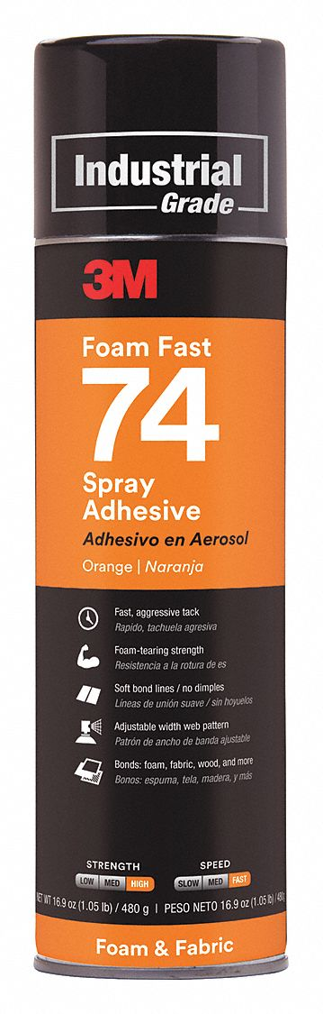 Spray Adhesive,  Aerosol Can,  16.9 oz Container Size - Adhesives