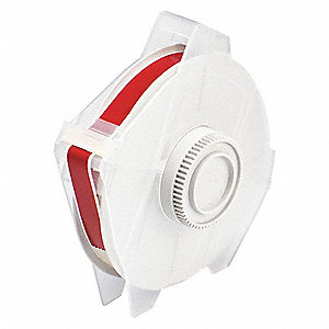 "Red Polyester Label Tape Cartridge, Indoor/Outdoor Label Type, 100 ft. Length, 1/2"" Width"