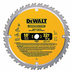 "10"" Carbide Combination Circular Saw Blade, Number of Teeth: 32"