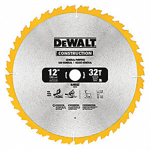 "12"" Carbide Combination Circular Saw Blade, Number of Teeth: 32"