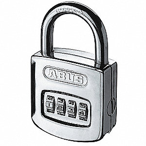 "Combination Padlock, Resettable Front-Dial Location, 1"" Shackle Height"