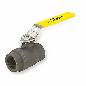 "Carbon Steel FNPT x FNPT Ball Valve, Locking Lever, 1/4"" Pipe Size"