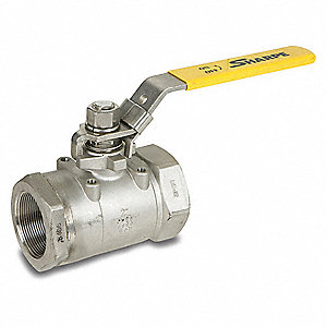 "316 Stainless Steel FNPT x FNPT Ball Valve, Locking Lever, 1/2"" Pipe Size"