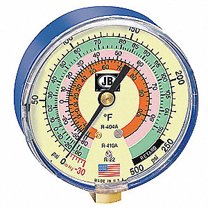 Gauge,3-1/8 In Dia,Low Side,Blue,500 psi