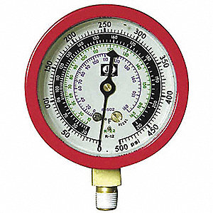 Gauge,3-1/8 In Dia,High Side,Red,500 psi