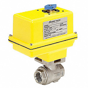 "Stainless Steel Electric Actuated Ball Valve, 2"" Pipe Size, 115VAC Voltage"