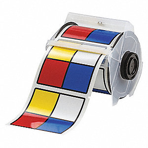 "Outdoor RTK Label, Black/Blue/Red/Yellow on White, 4""W x 4"""