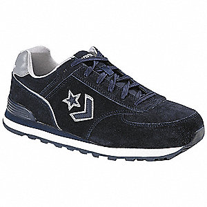"4""H Men's Athletic Style Work Shoes, Steel Toe Type, Suede Upper Material, Navy Blue, Size 9"