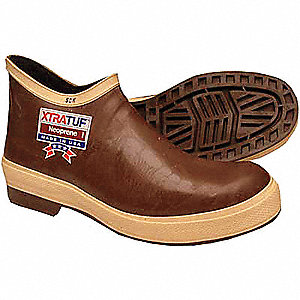 "6""H Men's Pull On Boots, Plain Toe Type, Neoprene Upper Material, Brown, Size 13"