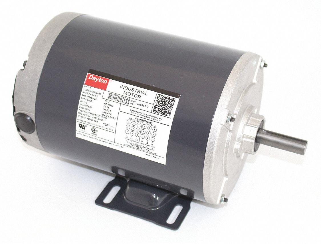 Dayton 3 4 Hp General Purpose Motor3 Phase1725 1425 Nameplate Rpm Ac Electric Motor Wiring Diagram Rpmvoltage 208 230 460frame 56 3n696 Grainger