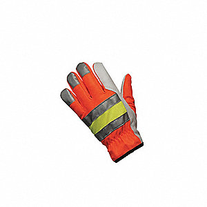 Goatskin Leather Work Gloves, Slip-On Cuff, Pearl/Hi-Visibility Orange/Yellow/Silver, Size: S, Left