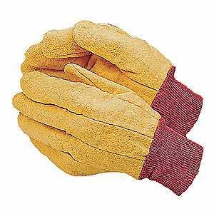 Cotton Chore Gloves, Knit Cuff, 14 oz. Fabric Weight, Yellow, L, PK 12