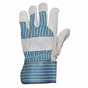 Cowhide Leather Palm Gloves with Safety Cuff, Blue/Gray, S