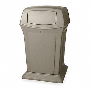 45 gal. Square Beige Trash Can