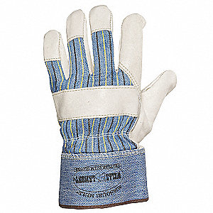 "Cowhide Leather Palm Gloves with 2-1/2"" Safety Cuff, Blue/Black/Tan, XL"