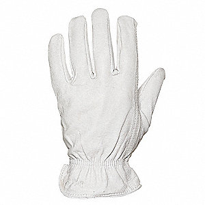 Goatskin Leather Gloves with Shirred Cuff, Off White, L