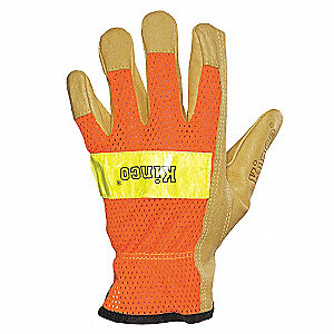 Leather Gloves,Shirred,Orange, L,PR