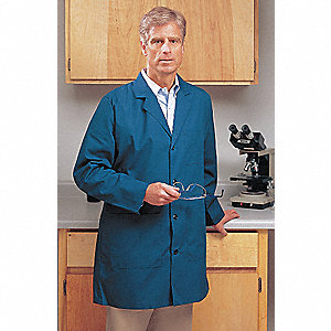 Collared Lab Coat,2XL,Navy,35 In. L